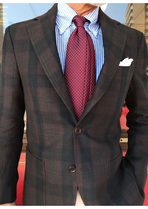 De Petrillo Dark madras Linen Jacket