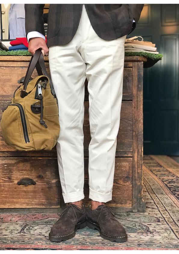 BERNARD ZINS Bespoke High Twist Cotton Chino Trousers
