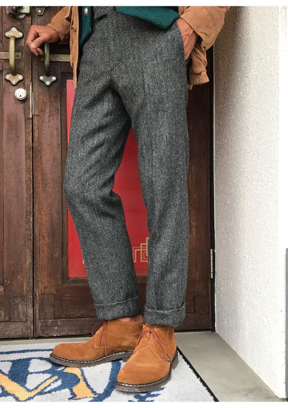 BERNARD ZINS Bespoke Herringbone Trousers