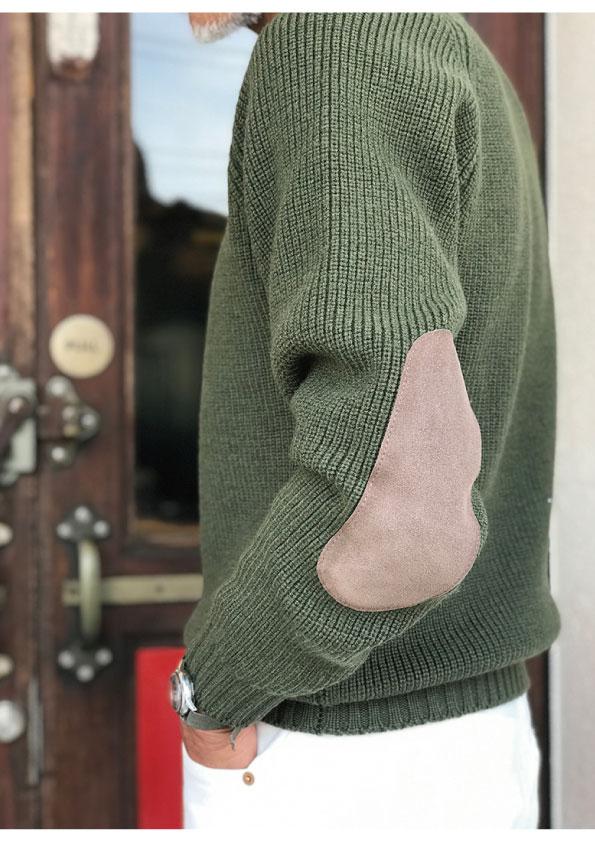 Boys Market Bespoke  WILLIAM LOCKIE Elbow Patch Crew NeckSweater