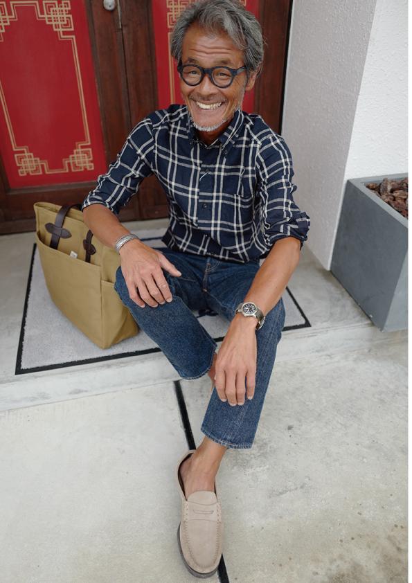 Harriss チェック リネンBDシャツ
