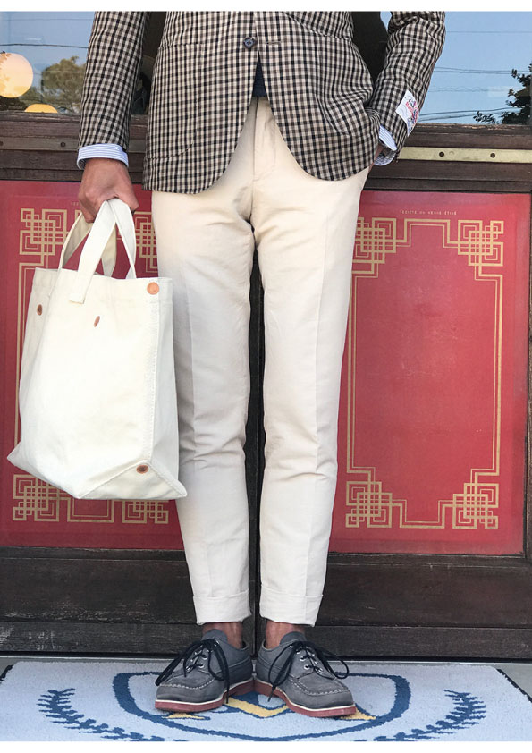 INCOTEX BESPOKE VINTAGE LOOK LINEN&COTTON Chambray Trousers(Off White)