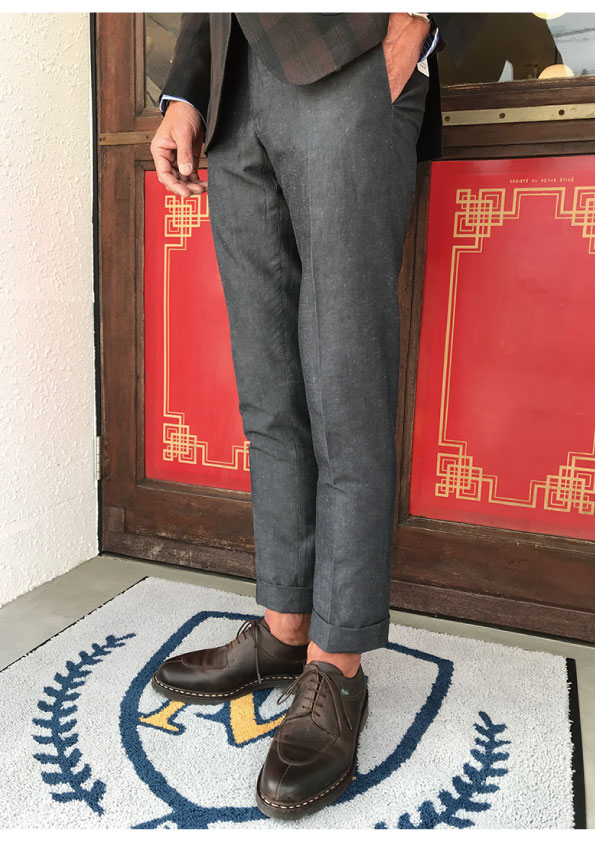INCOTEX BESPOKE VINTAGE LOOK LINEN&COTTON Chambray Trousers